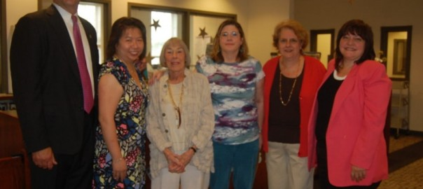 Author Mary Rodgers with the Friends of the Hasbrouck Heights Library