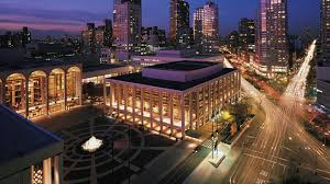 Lincoln Center at night before the Holidays