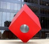 Red Cube by artist Isamu Noguchi