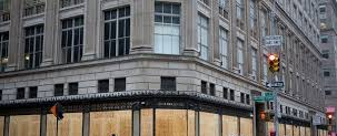 Saks Fifth Avenue boarded up